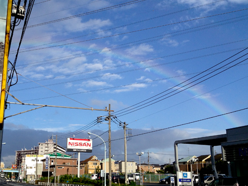 豪雨後の虹